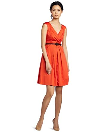 Jessica Simpson Women's V-Neck Belted Cotton Dress, Red Clay, 12