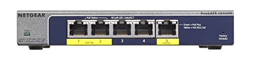 Netgear GS105PE-10000S Switch ProSAFE Web Managed, 3 Porte Gigabit, 2 Porte PoE con Funzionlità Passthrough, Blu/Argento