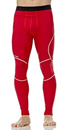 (C1004) AeroskinDry Mens Compression Tight in Scarlet / Silver Size: L