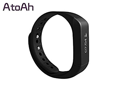 Atoah New Style Smart Bracelet with Bluestooth 4.0 Touch Screen Wireless Activity and Sleep Pedometer Smart Fitness Tracker Wristband and Support Mobile Device Such As Iphone 5,6 or Other Android Phone