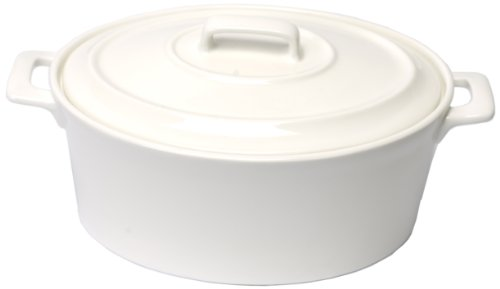 Housewares International Porcelain Dream Serveware Collection 9-Inch Oval Baking and Serving Dish with Porcelain Handles and Lid, White