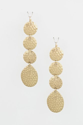 Karmas Canvas Hammered Disk Drop Earrings (Gold) front-1008638