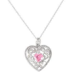 """Gift Of Motherhood Heart Necklace In Sterling Silver, 18"""""""