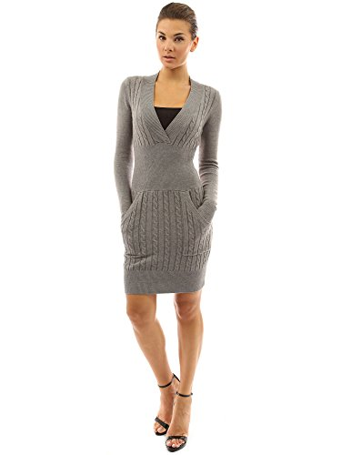 PattyBoutik Women's Deep V Neck Long Sleeve Sweater Dress (Heather Gray M)