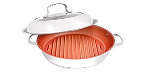 NuWave BBQ Grill Pan 11 Inch Stainless Steel Non Stick With Lid