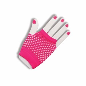 80s Fingerless Fishnet Gloves (Pink) Accessory