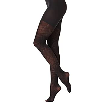 Star Power by Spanx Textured Shaping Diamond Daze Tights Black G