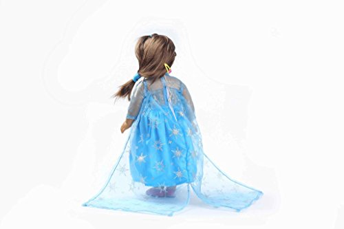 Teenitor(TM) Light Blue Shinning Dress With Snow Pattern With Yarn Fits 18 Inch Girl Dolls (Shipping By FBA) - 1