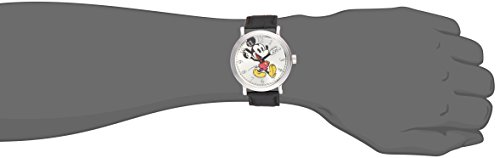 Disney Men's W001868 Mickey Mouse Silver-Tone Watch with Black Band 1