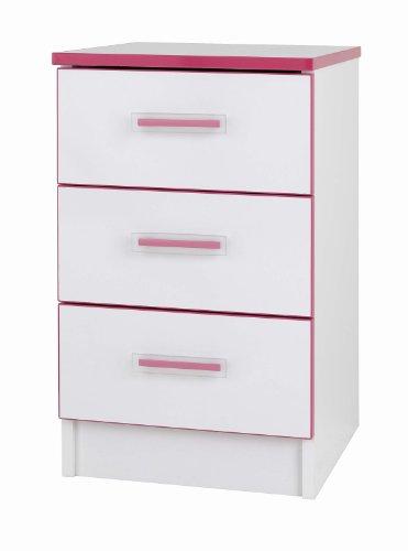 Mode Kiddi 3-Drawer Bedside, Pink