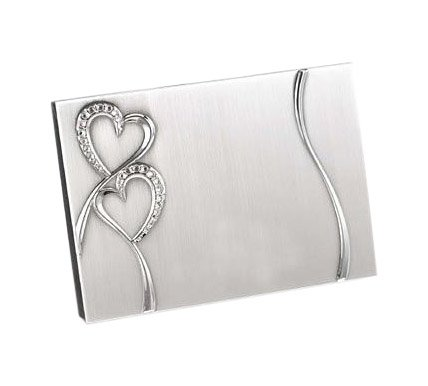 Hortense B. Hewitt Wedding Accessories Silver-Plated Guest Book, Sparkling Love