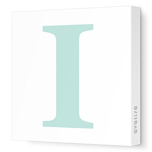 "Avalisa Stretched Canvas Upper Letter I Nursery Wall Art, Aqua, 12"" x 12"""