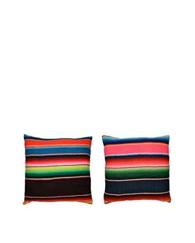 Uptown Down Set of 2 Found Mexican Blanket Pillows, Pink/Black/Multi