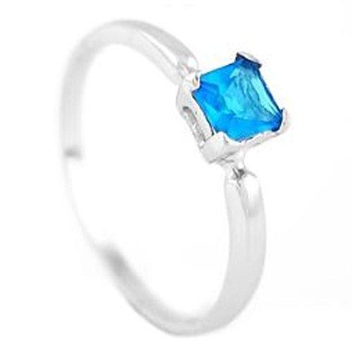Silver Princess Cut December Blue Topaz Birthstone Child Ring Size 5