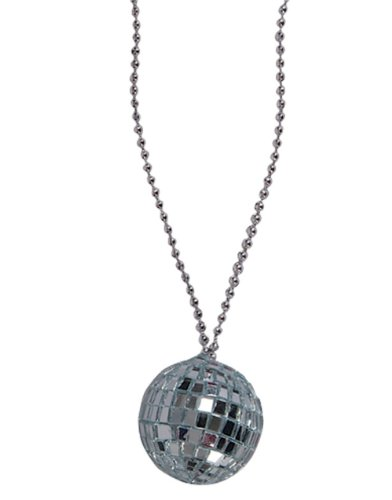 Silver 70s Bling Disco Ball Chain Necklace Costume Accessory