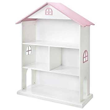 Dollhouse Kids Bookcase - White/pink - Girls Bookshelf Bedroom Playroom Living Room Children's Furniture Storage Organizer - Storage for Toys Dolls - To Keep the Room Organized and Neat