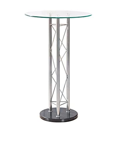 Luxury Home Bar Table, Silver/Clear