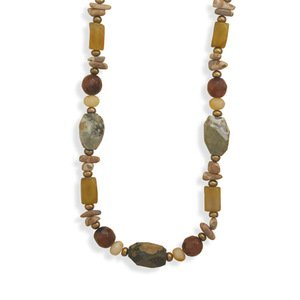Jade, Agate, Carnilian, Rhyolite, Jasper, and Pearl Necklace Adjustable Length - Made in the USA