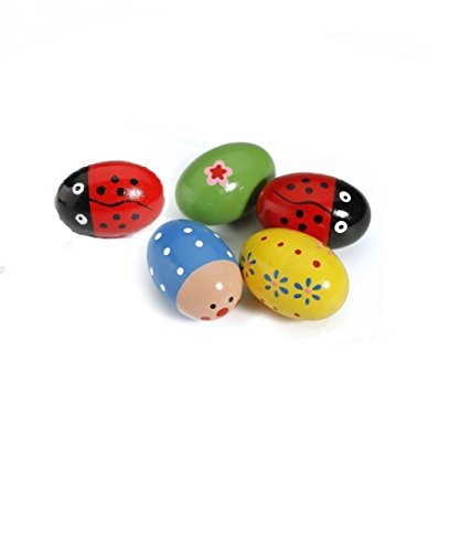Susuntas® 4PCS Baby Egg Maracas Music Shaker Wooden Rattle Percussion Instrument Toy Perfect Gift for Kid - 1