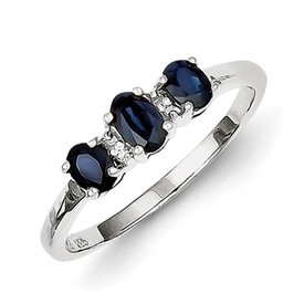 Genuine IceCarats Designer Jewelry Gift Sterling Silver Rhodium 3 Oval Sapphire & Diamond Ring Size 6.00