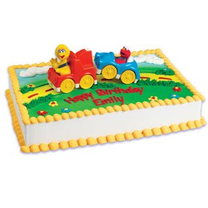 1 X Sesame Street Big Bird and Elmo in Tow Birthday Cake Decorating Kit