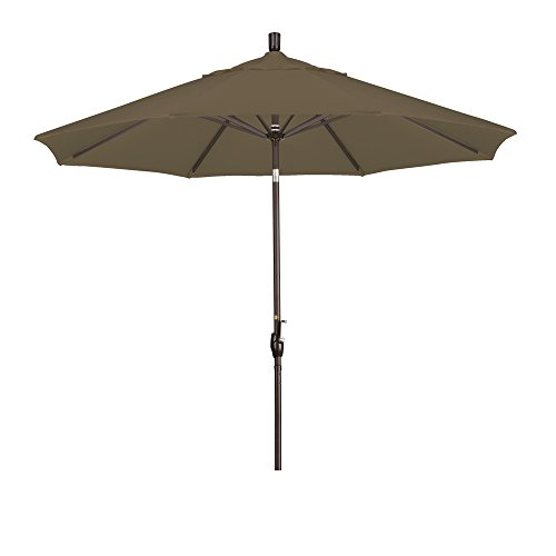California Umbrella 9-Feet Sunbrella Fabric Aluminum Push Button Tilt Market Umbrella with Bronze Pole, Cocoa