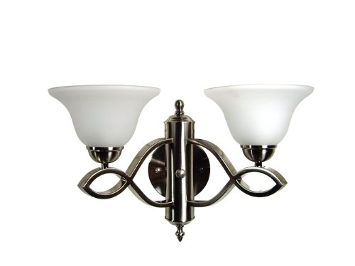 Yosemite Home Decor 94272Sn Vernal Falls Wall Sconce With White Frosted Shades, 2-Light, Satin Nickel front-517201