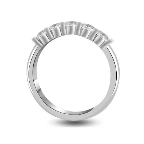 0.60 carat Diamond Half Eternity Ring for Women. H/SI1 Round Brilliant Diamonds in Bar Setting in 18ct White Gold
