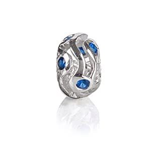 Bling Jewelry Blue Sapphire CZ September Birthstone 925 Sterling Silver Bead Pandora Charm Compatible
