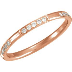 14kt Rose 1/6 CTW Diamond Eternity Band Size 6