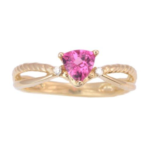 10K Yellow Gold Pink Tourmaline and Diamond Split Shank Ring, Size 6