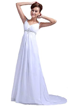 Faironly M22 Straps Ivory Chiffon Bridal Dress, Size|XS