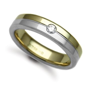Jewelco London 18ct Yellow & White Gold 5mm Flat Court Diamond set 10pts Solitaire Wedding / Commitment Ring, (9g) - Size X