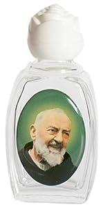 Botella de Agua Bendita Padre Pío de Pietrelcina de Cristal 7cm católico con Tapon Blanco en Forma de Rosa   revisión y más noticias