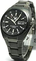 Black Stainless Steel Seiko 5 Sports Automatic Black Dial Day and Date Display