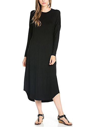 12-ami-long-sleeve-basic-pocket-midi-dress-black-xl