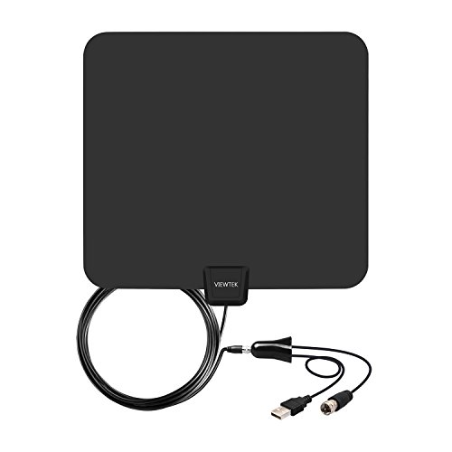 VIEWTEK Amplified HDTV Antenna Ultra Thin Indoor HD TV Antenna 50 Mile Range with Detachable Amplifier 13 Ft Coaxial Cable (Indoor Digital Tv Antenna compare prices)