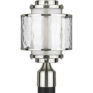 Progress Lighting P5499-09 Bay Court Collection 1-Light Post Lantern, Brushed Nickel