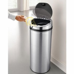 Homefront Premium 50 Litre Chrome Stainless Steel Auto Sensor Kitchen Bin (MAINS ADAPTOR  &  BATTERIES INCLUDED)