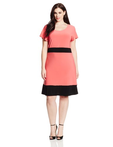 FHLOG Star Vixen Women's Plus-Size Colorblock Short Sleeve Skater Dress, Coral/Black, 2X