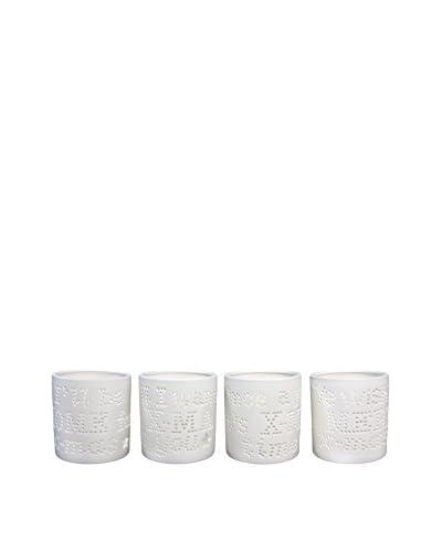 HF LIVING Set Portavelas 4 Uds. Porcelain