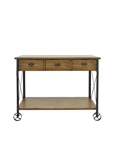 Three Hands Industrial Wood Rolling Console, Brown As You See