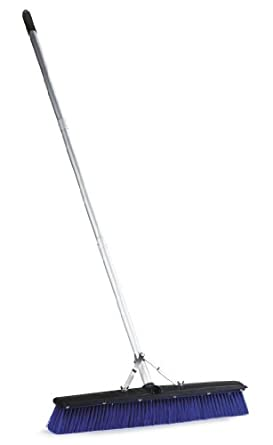 "Carlisle 3621962414 Sweep Complete Floor Sweep with Squeegee, 24""-Long Plastic Block, 3""-Long Blue Plastic Bristles, 60""-Long Aluminum Handle (Case of 6)"