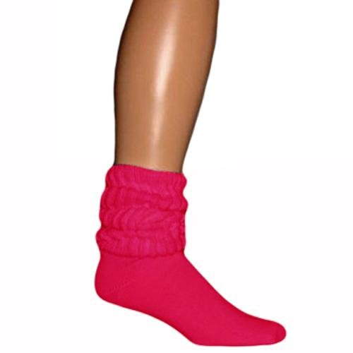 Hot Pink All Cotton Heavy Slouch Socks