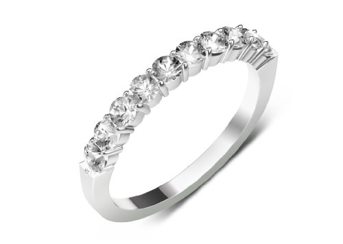 0.75cttw Natural Round White sapphire (AA+-Clarity,White-Color) 10 Stone Wedding Band in 925 Sterling Silver.size 9.0