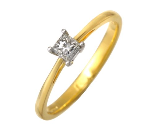 18ct Yellow Gold 1/4 Carat Certified J/I Princess Cut Diamond Engagement Ring - Size M