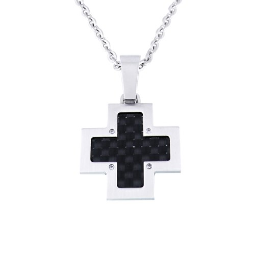 Men's Stainless Steel with Carbon Fiber Detail and Cubic Zirconia Cross Pendant Necklace , 20