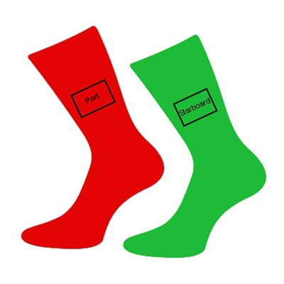 Men's Novelty Designer Pair Of Red & Green Port & Starboard Cotton Rich Socks (Fits Size 5 to 12) - A Great Christmas, Birthday, Valentine, Anniversary, Wedding Gift For Husbands, Fathers, Boyfriends, Friends And Work Colleagues