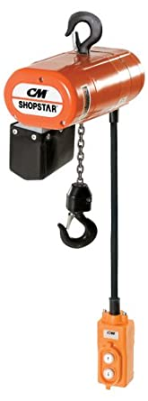 CM 2028 3-Phase Single Speed ShopStar Electric Chain Hoist, 300 lbs Capacity, 20' Lift Height, 16 fpm Lift Speed, 1/6HP, 230V/60Hz