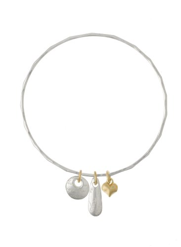 Dower & Hall Memento Sterling Silver Engraved Bean Disc and Vermeil Heart on Beaten Bangle
